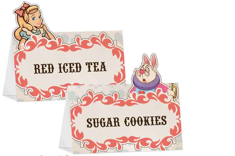 alice in wonderland party food tent labels