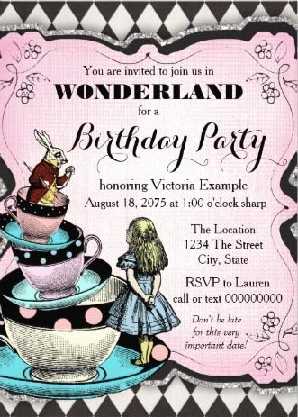 100+ alice in wonderland party ideas—by a professional party planner, Invitation templates