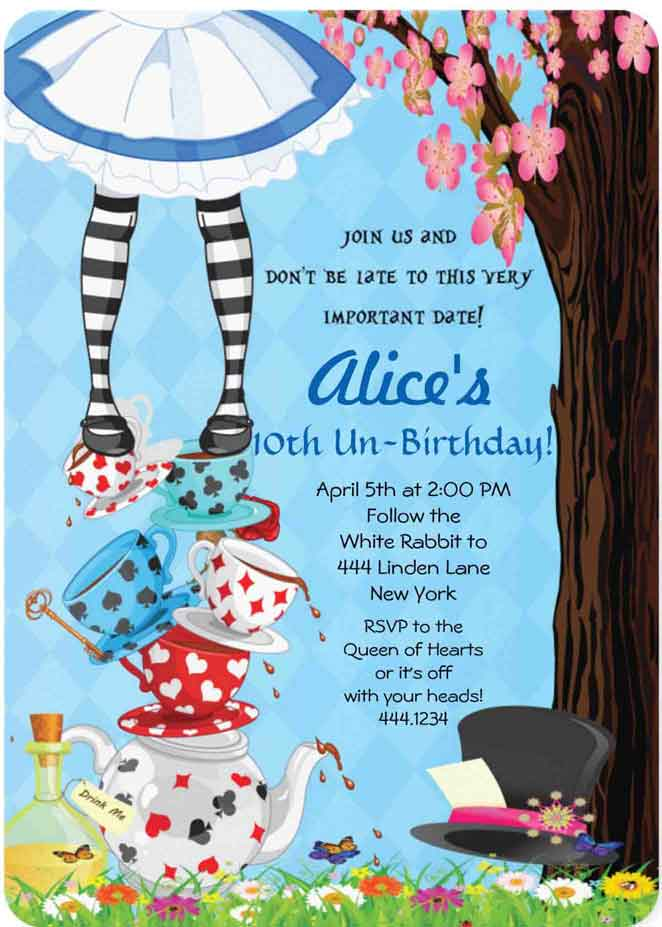 100+ alice in wonderland party ideas—by a professional party planner, Birthday invitations