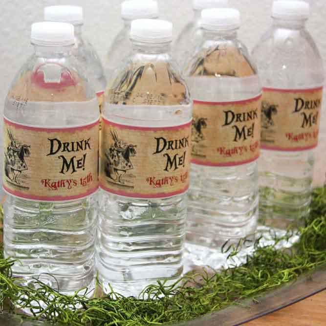 alice in wonderland bottle labels