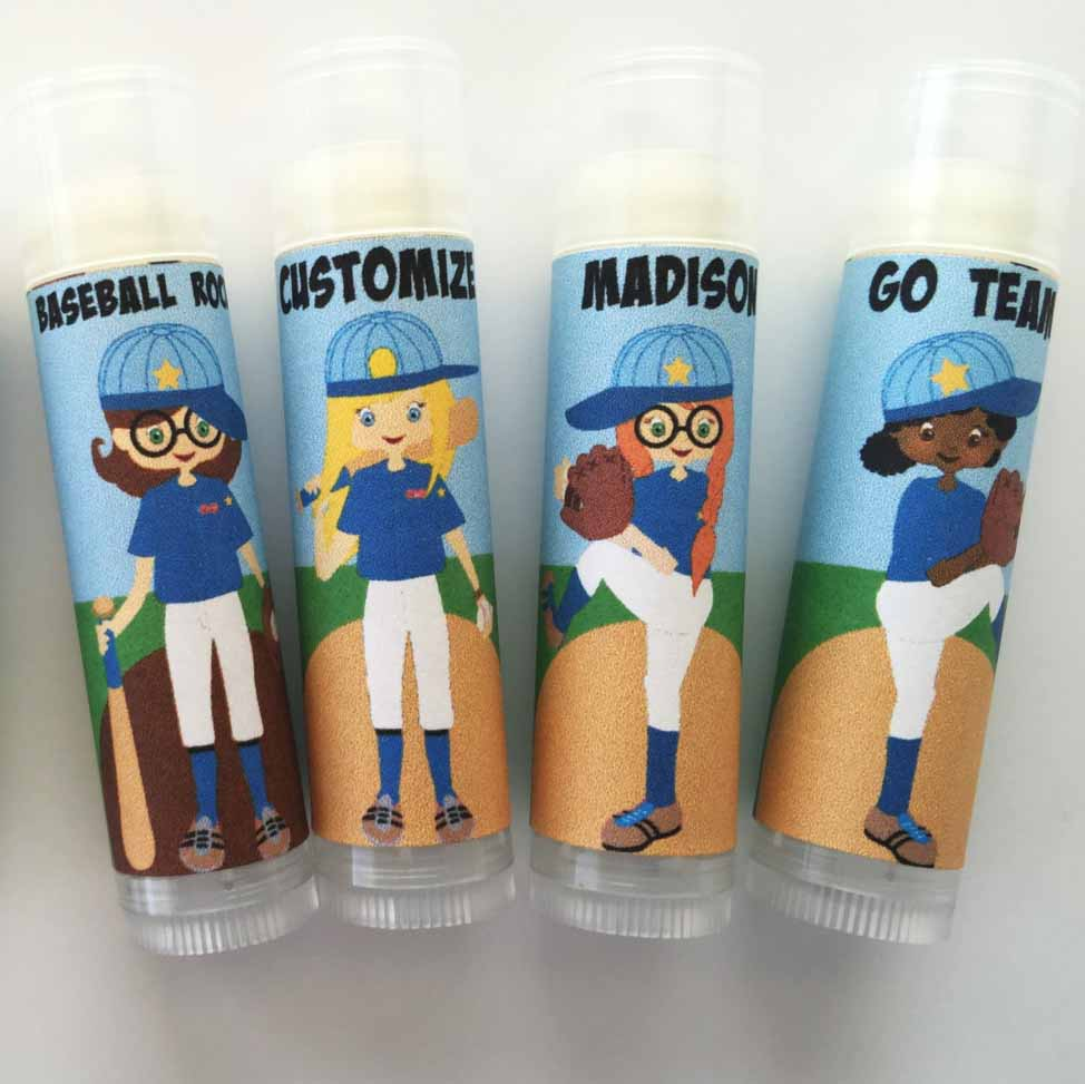 baseball party favor lip balms