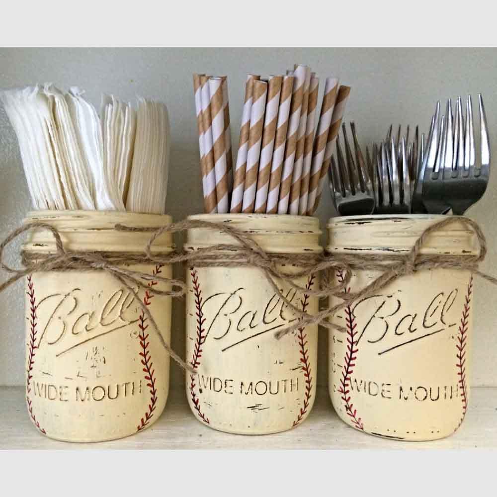 baseball mason jars