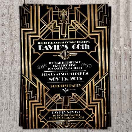 1930's Great Gatsby birthday invitations