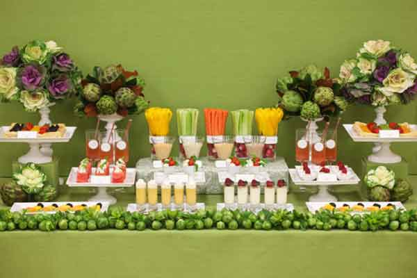 Fruit And Vegetable Buffet Table