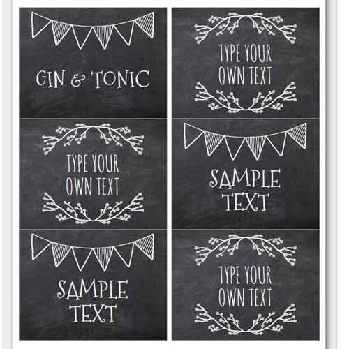 buffet table food tent labels chalkboard