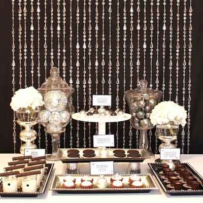 bead curtain dessert  buffet table backdrop