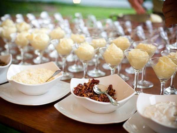 mash potato food station / buffet table