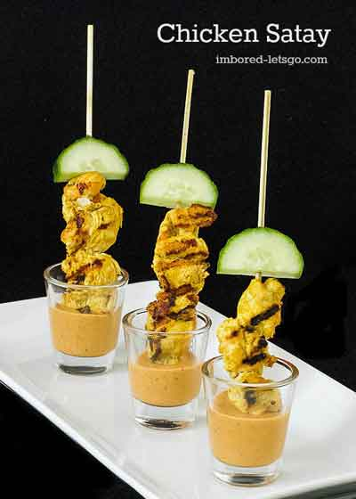 chicken satay in shooters