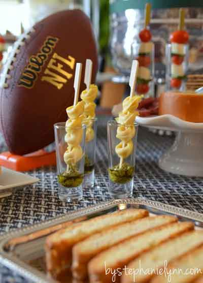 pasta skewers served in shooters