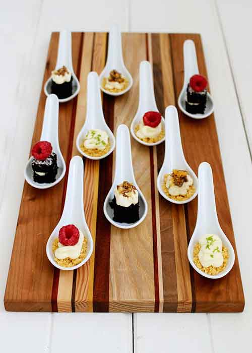 mini desserts on spoons