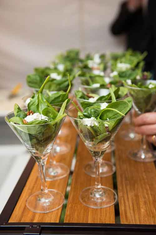 salad in martini glass