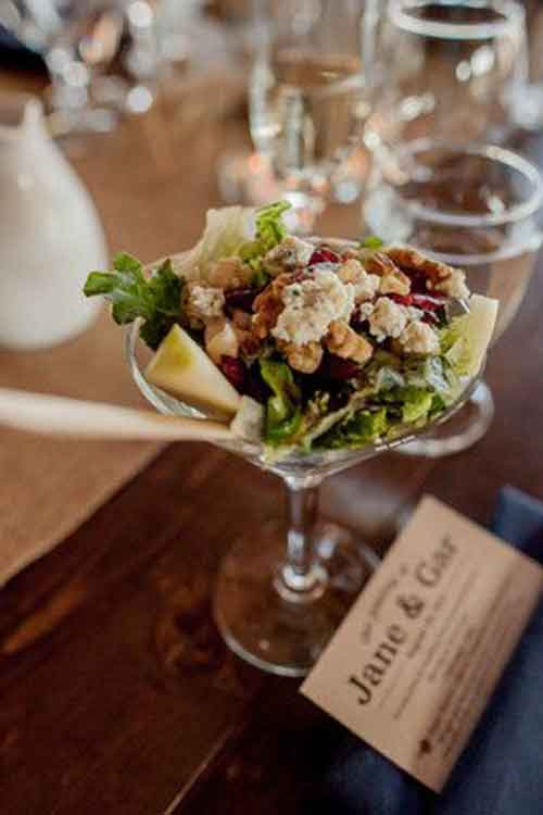 salad in martini glass