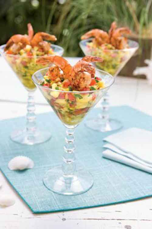 carribean shrimp cocktail in martini glass