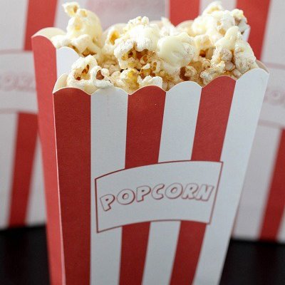 white chocolate popcorn drizzle