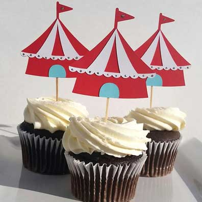 carnival big top cupcake toppers