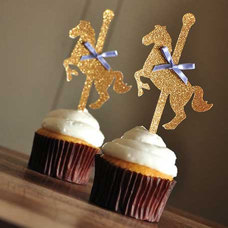 carnival carousel horse cupcake toppers