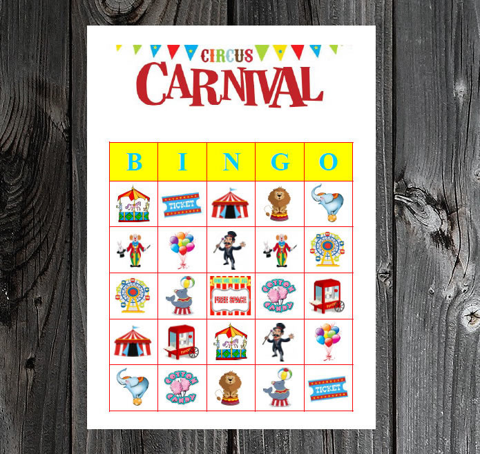 carnival party game printable bingo