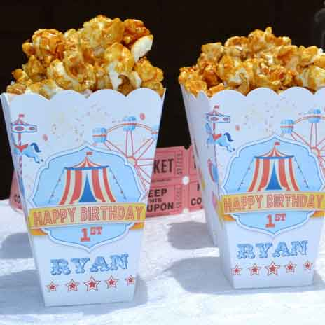 carnival party treat bags popcorn