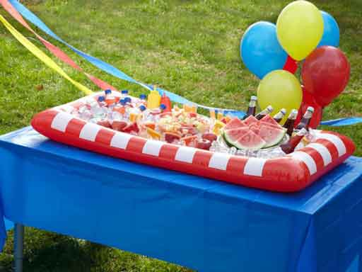 Carnival themed inflatable buffet cooler