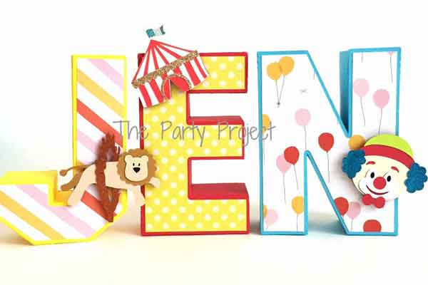 carnival themed 3D cardstock letters