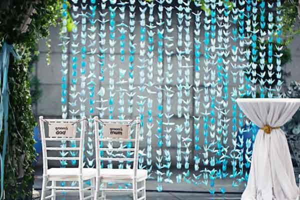 paper cranes hanging garland decorations