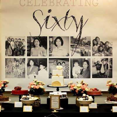 60th birthday photo collage dessert table backdrop