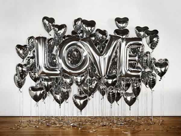 silver letter balloons