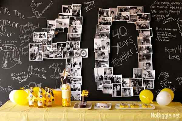 milestone 40th birthday chalkboard dessert table backdrop