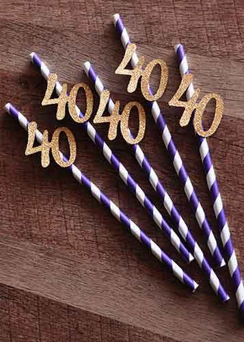 custom drinking straws 40th birthday