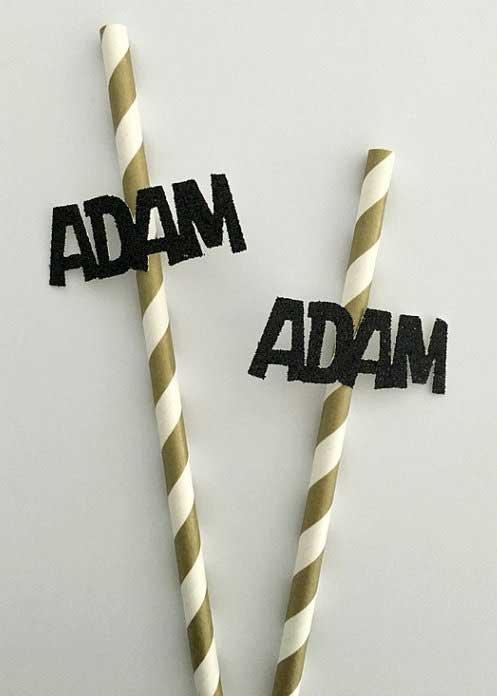 custom name party straws