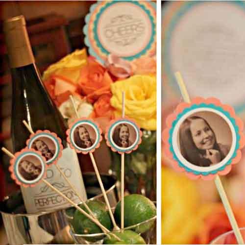 custom photo party drinks stirrers