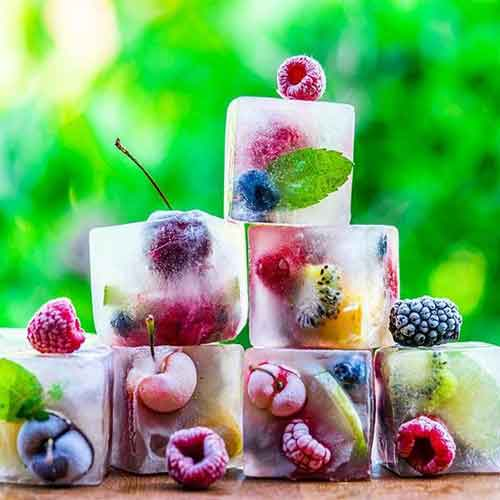 fruit in ice cubes