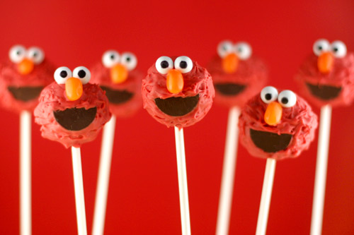Elmo birthday party ideas by a professional party planner cake pops can be a bit of a hassle to make you have to bake the cake crumble it then mix frosting into the crumbs roll into balls then freeze a little solutioingenieria Image collections