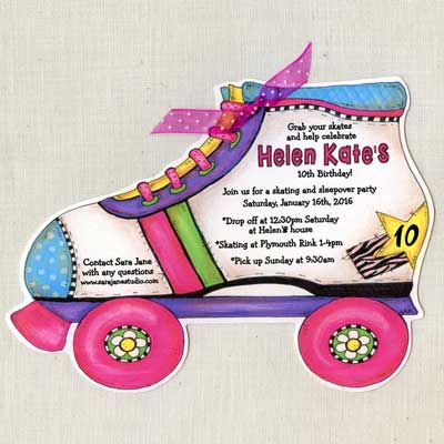 roller boot illustrated invitation
