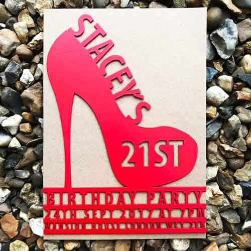 laser cut stiletto high heel invitations