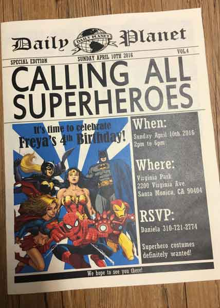 superhero newspaper invitation