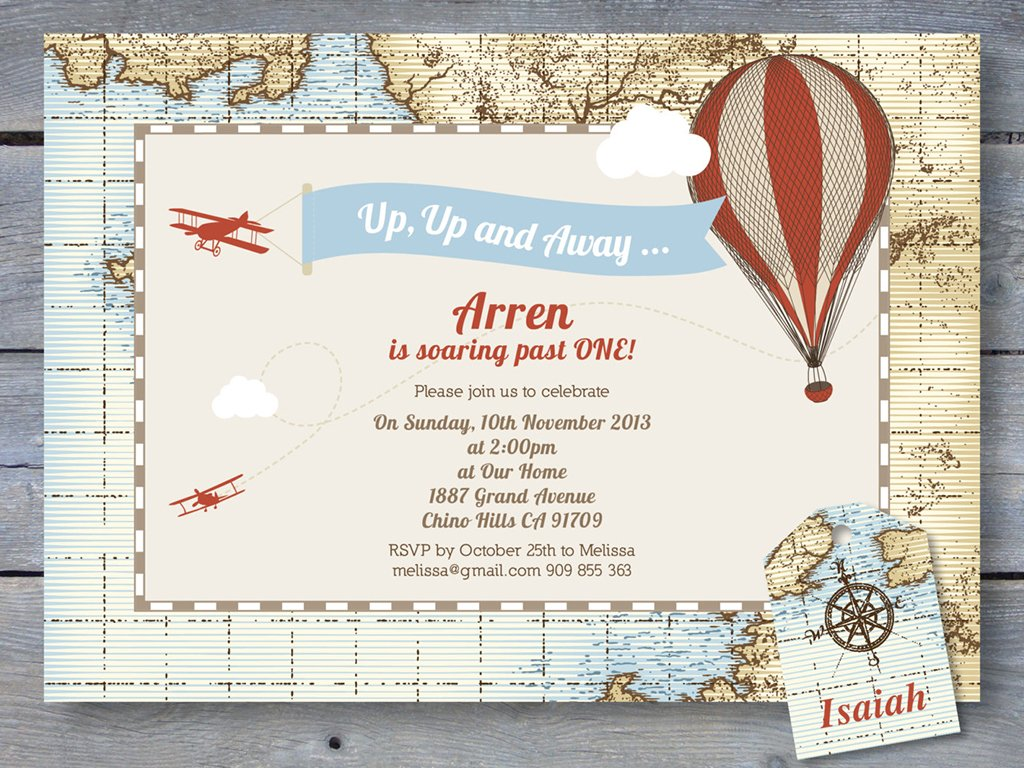up up and away vintage flying invitation