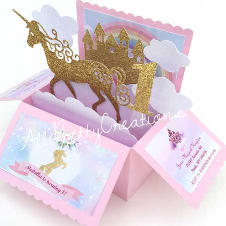 unicorn pop up invitation