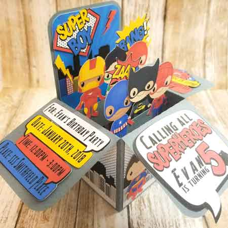 superhero pop up invitation