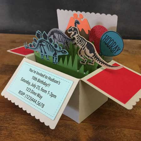 dinosaur pop up invitation