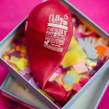 balloon invitation in a box