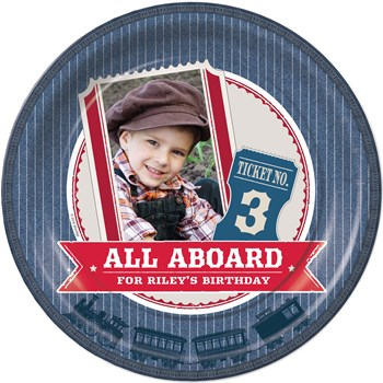 personalized all aboard train party theme