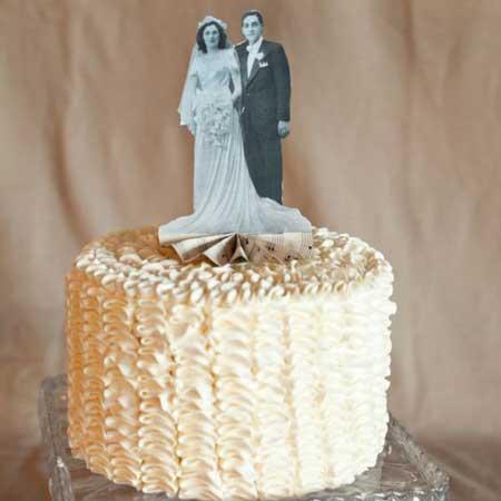 wedding photo cake topper