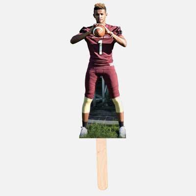custom photo standee on a stick