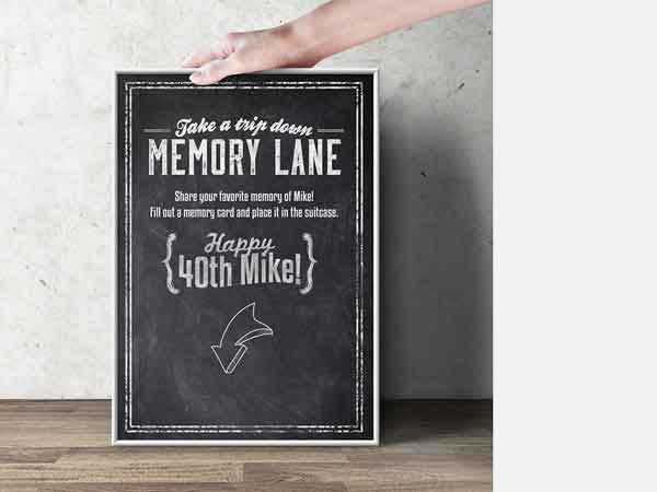 take a trip down memory lane 60th birthday party sign