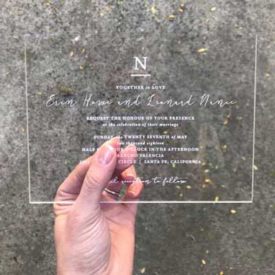 transparent acrylic invitations