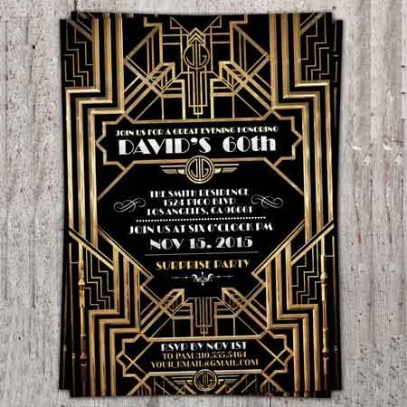 1930's Great Gatsby birthday invitations