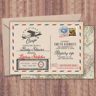 vintage travel invitation