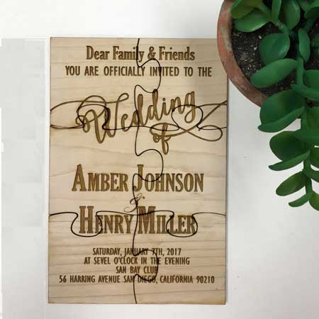 wood jigsaw invitations