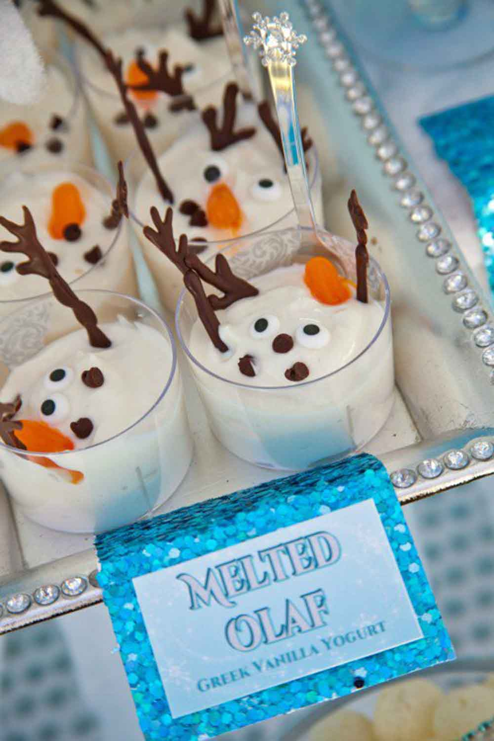 disney princess party food melted olaf pudding